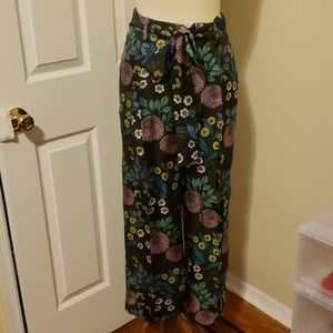 J.crew silk multicolored floral cropped pants